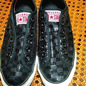 Converse black sequin slip on shoes